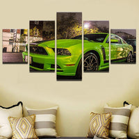 Five Piece Green Mustang Painting