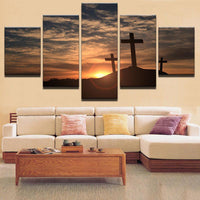 Five Piece Cross Over Mountain Painting