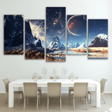 Five Piece Abstract Planets Painting