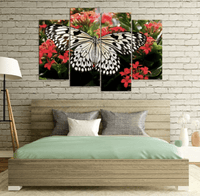 Four Piece Butterfly and Flowers Painting
