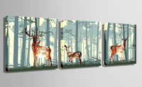 Three Piece Deer in Forest Painting