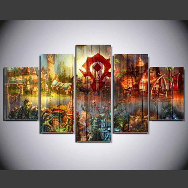 Five Piece World of Warcraft Painting