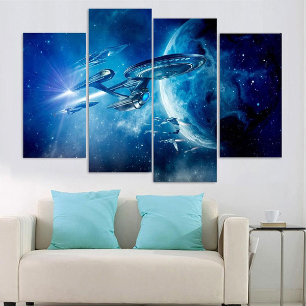 Four Piece Star Trek Spaceship Painting