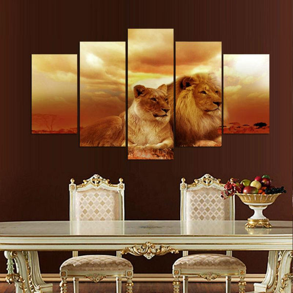 Five Piece Lions on the Sunset Painting