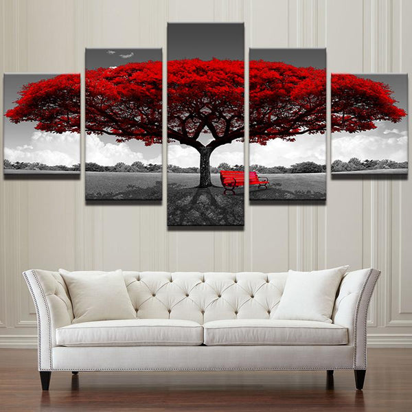 Five Piece Red Tree Painting