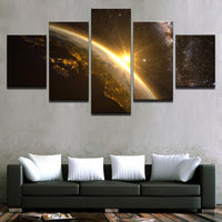 Five Piece Light Over Earth Painting