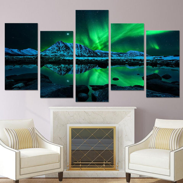 Five Piece Green Aurora Borealis Painting