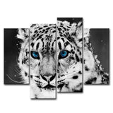 Four Piece Black & White Leopard Painting