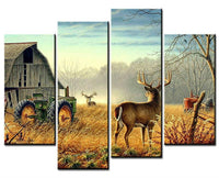 Four Piece Deer Farm Painting