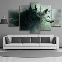 Five Piece Shadow Wolves Painting