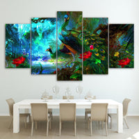 Five Piece Peacock Painting