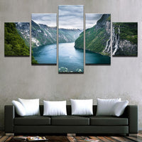 Five Piece Mountain and River Painting