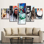 Five Piece Star Wars Supporting Characters Painting