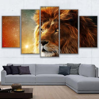 Five Piece Mystic Lion Painting