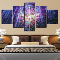 Five Piece Mystic Owl Painting