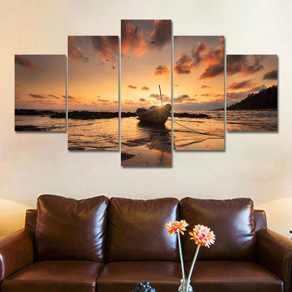 Five Piece Stranded Boat Sunset Painting