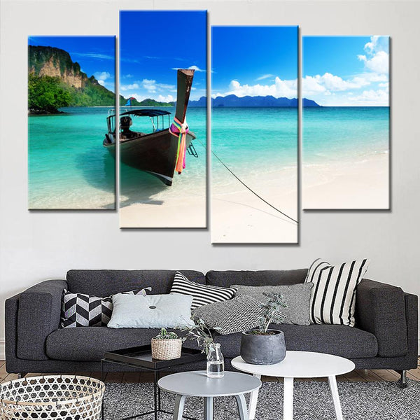 Four Piece Canoe Seaside Painting