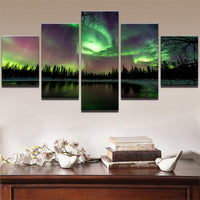 Five Piece Green Forest Aurora Painting