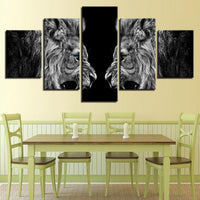 Five Piece Roaring Lions Painting