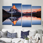 Four Piece Snowy Mountain Seascape Painting