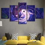Five Piece Avatar Yin Yang Fish Painting
