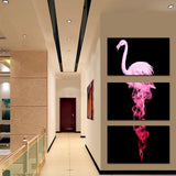 Three Piece Abstract Flamingo Painting