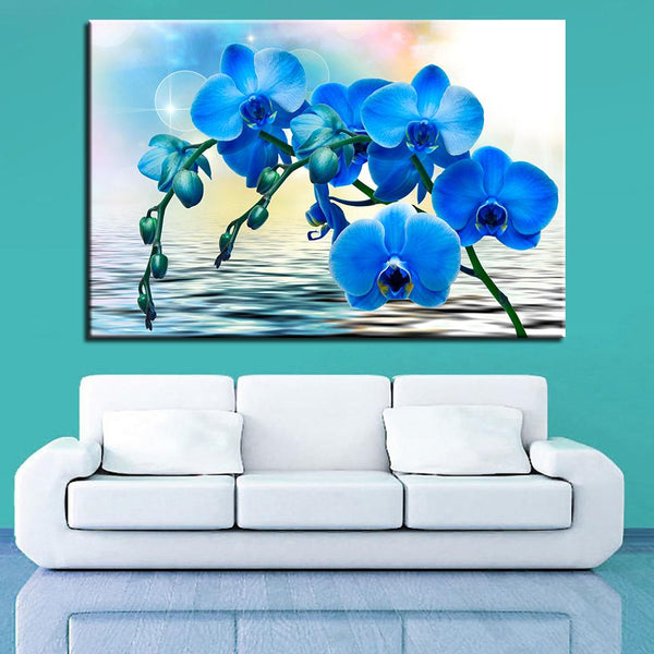 One Piece Blue Water Flower Painting