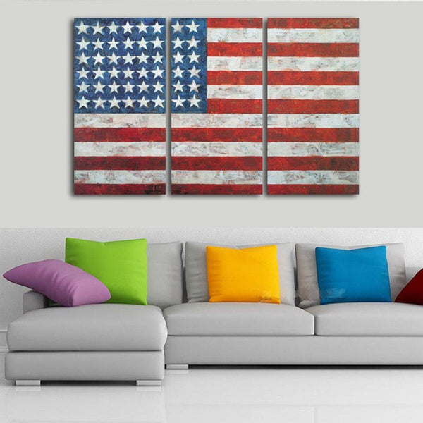 Three Piece Vintage American Flag Painting
