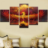 Five Piece Fire Phoenix Painting