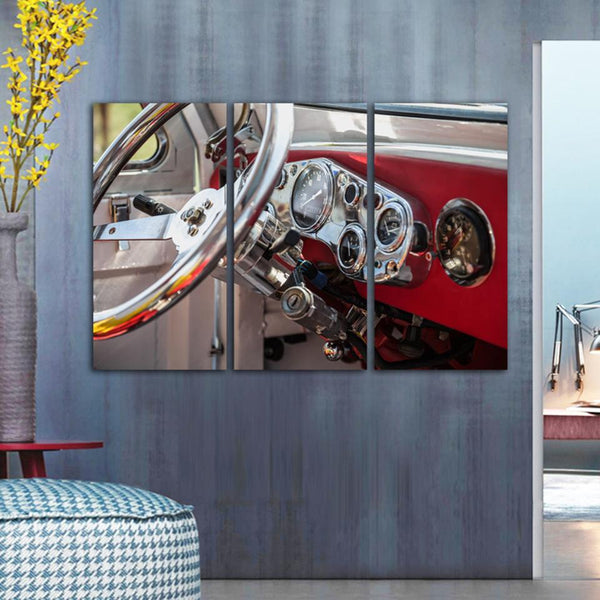 Three Piece Classic Car Steering Wheel Painting