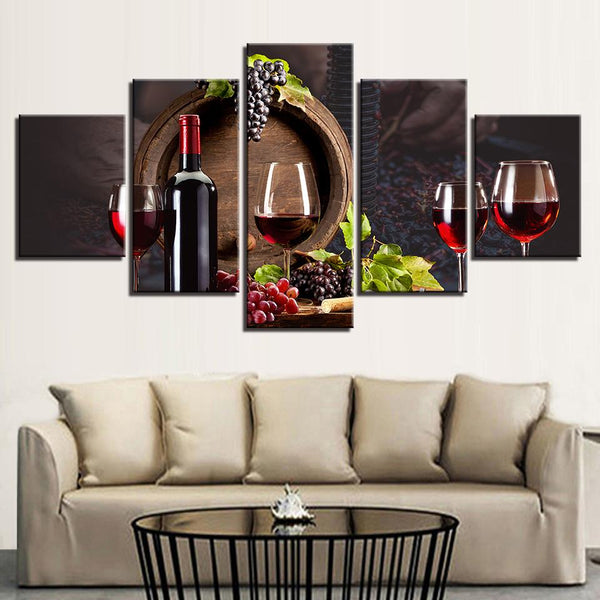 Five Piece Grapes and Wine Painting