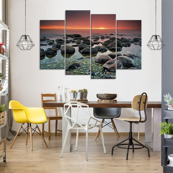 Four Piece Rocks on Sunset Painting