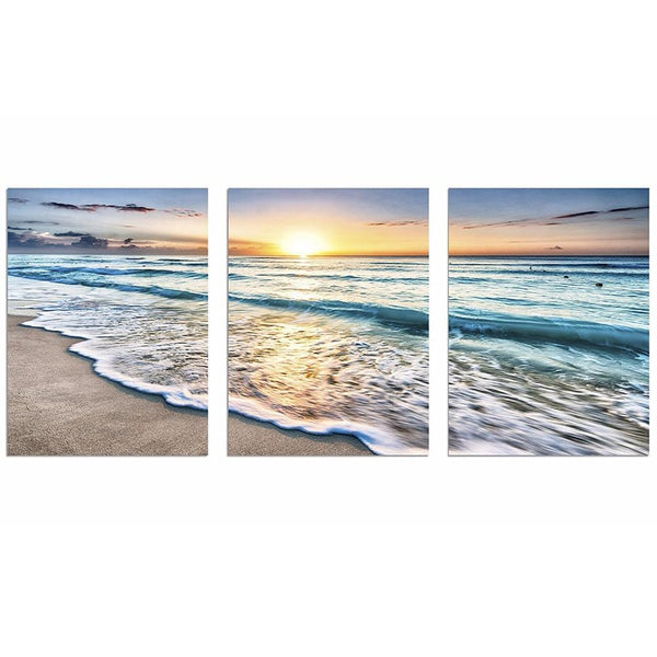 Three Piece Ocean Sunrise Painting