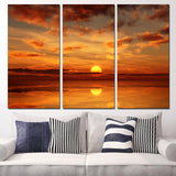 Three Piece Sunset over Ocean Painting
