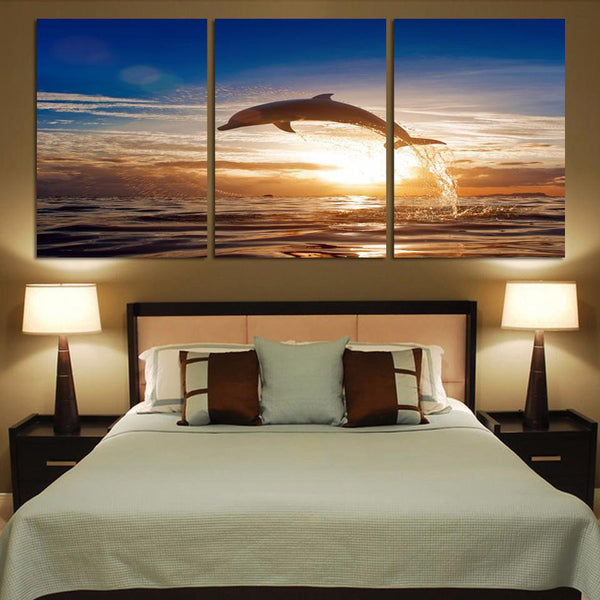 Three Piece Majestic Dolphin Painting