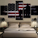 Five Piece American Soldiers Painting