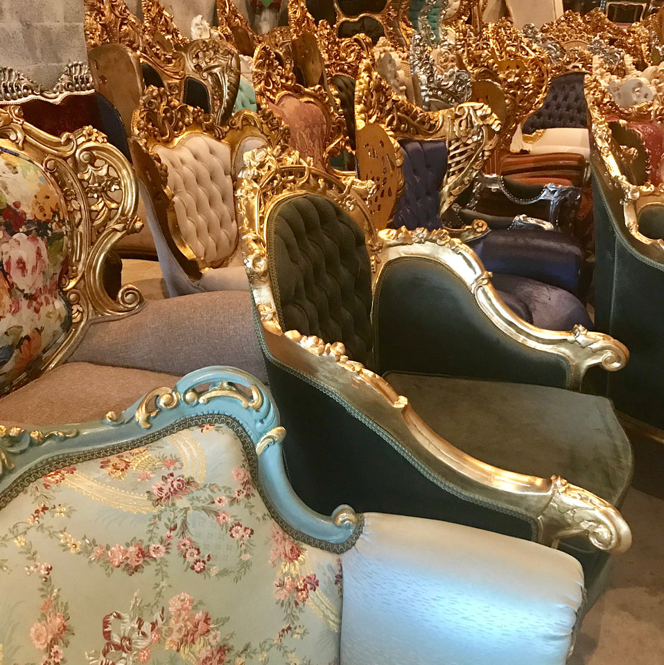 Here you can see a snippet of our stock of chairs. We carry hundreds of chairs for you to choose from.