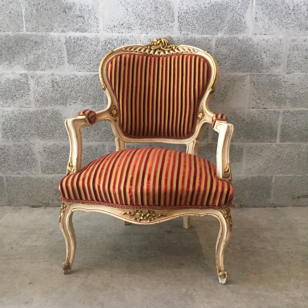 Creme French Chair Antique Louis XVI Fauteuil Amrchair Bench Table Original Creme Beige White Frame Gold Leaf Accent Fabric Baroque Rococo