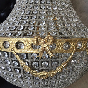 "45"" XL Bowl Basket Chandelier Extra LARGE Antique French Brass Empire Bowl 45""Hx 25""D Interior Design Refinished Brass Vintage chandelier E"