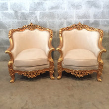 Load image into Gallery viewer, Baroque Settee Bergere Beige Creme Suede Furniture Italian Antique Sofa Throne Chair Refinish Gold Leaf Reupholster French Louis XVI Rococo