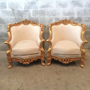 Baroque Settee Bergere Beige Creme Suede Furniture Italian Antique Sofa Throne Chair Refinish Gold Leaf Reupholster French Louis XVI Rococo