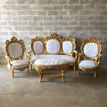 Load image into Gallery viewer, Gold Tufted Settee Throne Chair Antique Italian Rococo *4 Piece Availa* White Leather Chair Fauteuil Bench Sofa Gold Leaf Nail Heads Baroque