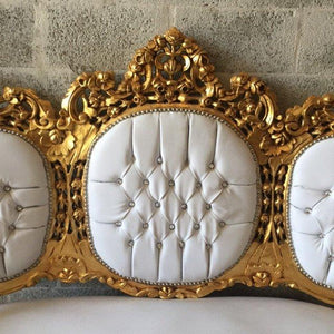 Gold Tufted Settee Throne Chair Antique Italian Rococo *4 Piece Availa* White Leather Chair Fauteuil Bench Sofa Gold Leaf Nail Heads Baroque