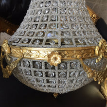 "Load image into Gallery viewer, Bowl Basket Chandelier Medium Antique French Brass Empire Bowl 29""H x 16""W Interior Design *1 Available* Refinished Brass Vintage chandelier"