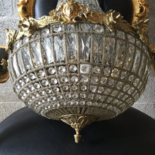 "Load image into Gallery viewer, Woman Face Chandelier LARGE Antique French Woman Head Caged Basket Brass Empire Bowl 37""H x 21""D Interior Design Refinish Brass Louis XVI E"