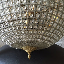 "Load image into Gallery viewer, 45"" XL Bowl Basket Chandelier Extra LARGE Antique French Brass Empire Bowl 45""Hx 25""D Interior Design Refinished Brass Vintage chandelier E"