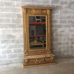 "French Floor Mirror Antique French Louis XVI Floor Mirror 7.4"" Feet Tall Beige Marble Top Console Top Rococo Furniture Mirror Baroque Mirror"