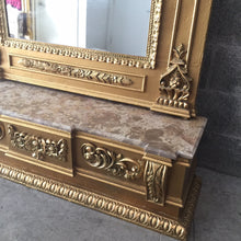 "Load image into Gallery viewer, French Floor Mirror Antique French Louis XVI Floor Mirror 7.4"" Feet Tall Beige Marble Top Console Top Rococo Furniture Mirror Baroque Mirror"