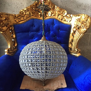 "Large Sphere Chandelier 27"" Round Empire Detailed Ball Chandelier Interior Design FREE SHIPPING *2 Available* USA Re-Wired"