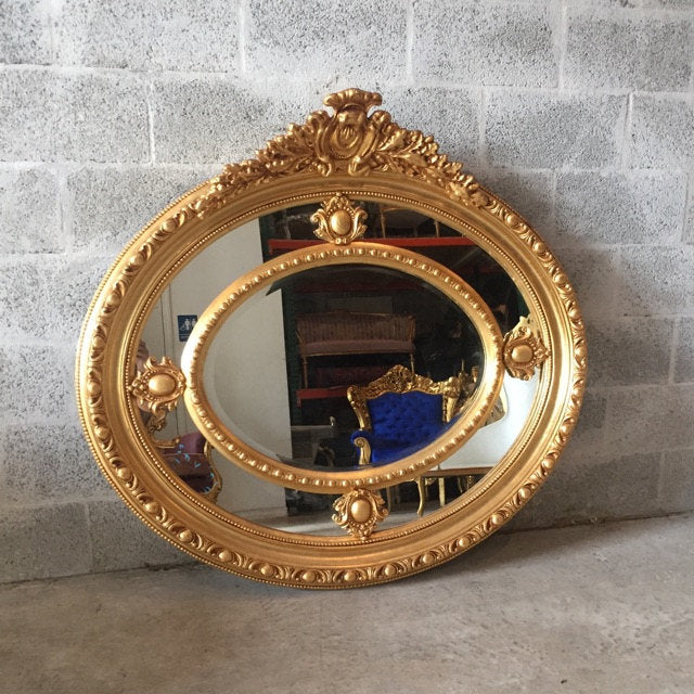 French Mirror Round Mirror Gold Heavy Carved Great Condition *2 Available* 46